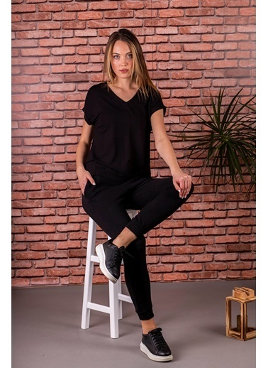 Stamina  Bayan V Yaka Duble Kısa Kol Bluz-5VS14 Siyah